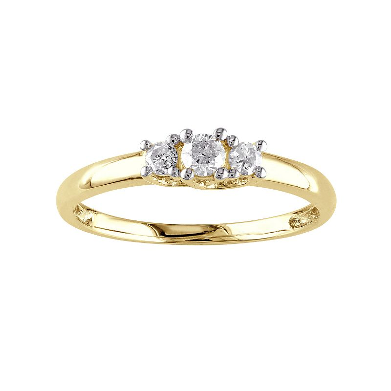 10k Gold 1/4 Carat T.W. Diamond 3-Stone Engagement Ring