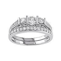 10k White Gold 3/4 Carat T.W. Diamond 3-Stone Engagement Ring Set