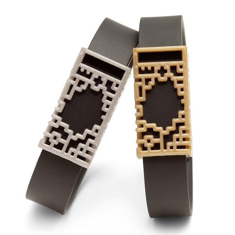 Bytten for Fitbit Flex Lucas (2-Pack, Sparkle Silver & Satin Gold Plastic)