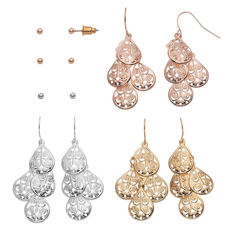 Mudd® Tri Tone Ball Stud & Teardrop Kite Earring Set