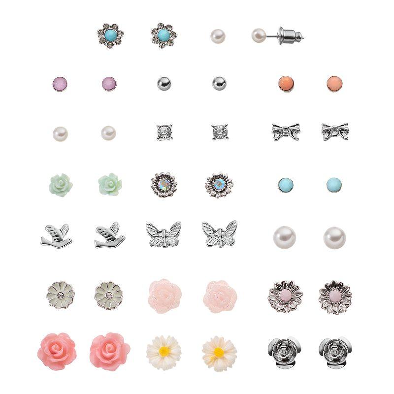 Mudd® Flower, Bow, Bird & Butterfly Stud Earring Set