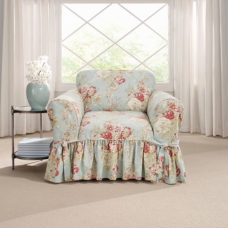 Sure Fit Waverly Ballad Bouquet Chair Slipcover DealTrend