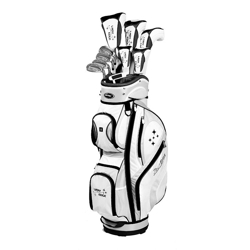 Women's Tour Edge Golf 2014 Lady Edge Right Hand Golf Clubs & Deluxe Cart Bag Set, White