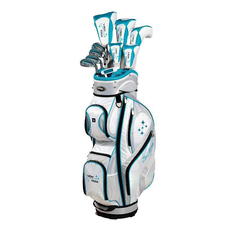 Women's Petite Tour Edge Golf 2014 Lady Edge Right Hand White Teal Golf Clubs & Deluxe Cart Bag Set