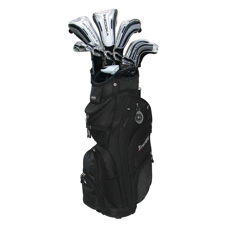 Men's Tour Edge Golf HT Right Hand Golf Clubs & Max-D Cart Bag Set, Black