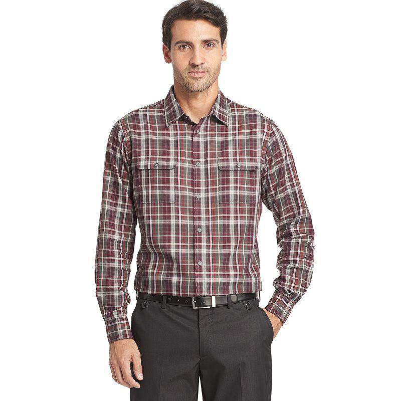 Men 39 s van heusen classic fit plaid button down shirt for Van heusen plaid shirts