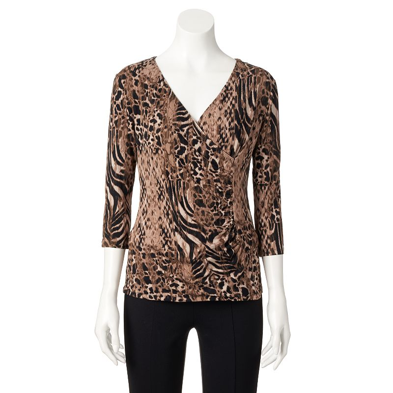 Women's Dana Buchman Printed Faux-Wrap Top