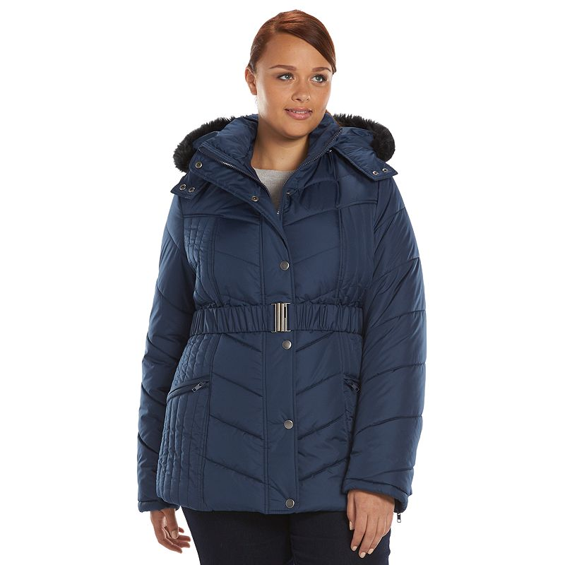 Plus Size Totes Hooded Chevron Quilted Puffer Jacket