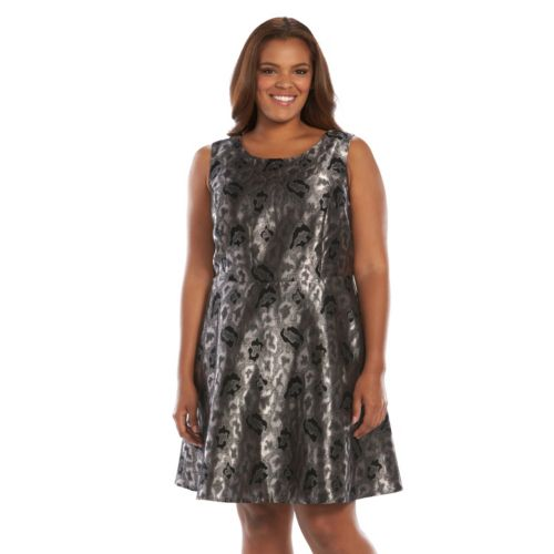 Plus Size Apt. 9® Foil Jacquard Fit & Flare Dress