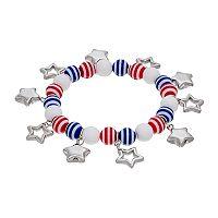 Red, White & Blue Beaded Star Charm Stretch Bracelet