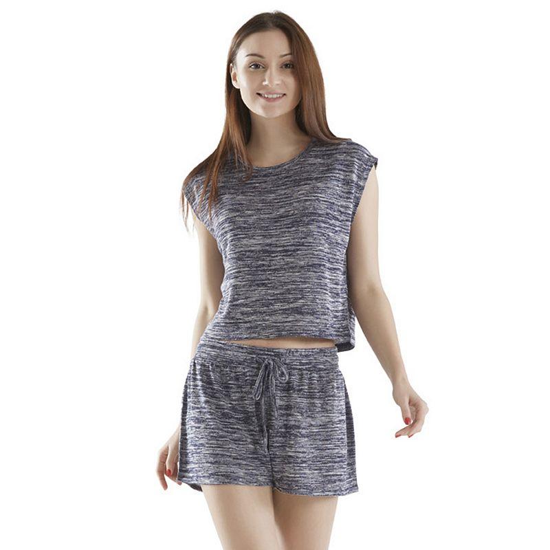 Women's INK+IVY Pajamas: Space-Dye Tee & Shorts Pajama Set