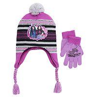 Disney's Descendants Mal Girls 4-16 Pom-Pom Earflap Hat & Gloves Set