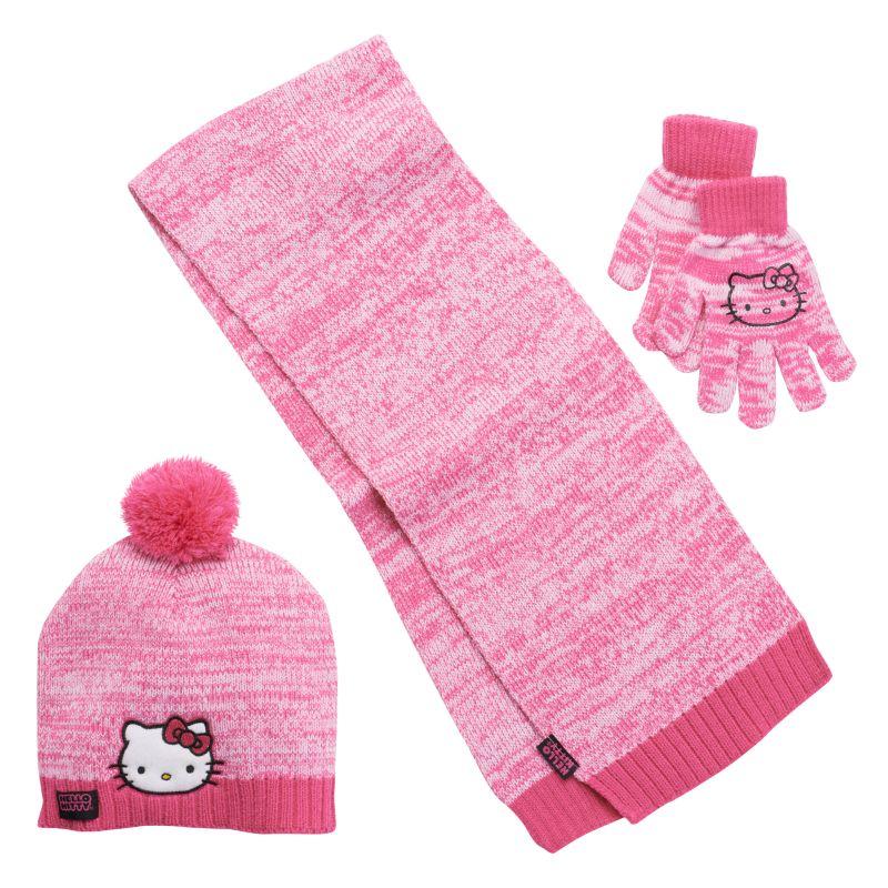 Girls 4-16 Hello Kitty Marled Pom-Pom Hat, Gloves & Scarf Set, Girl's, Pink