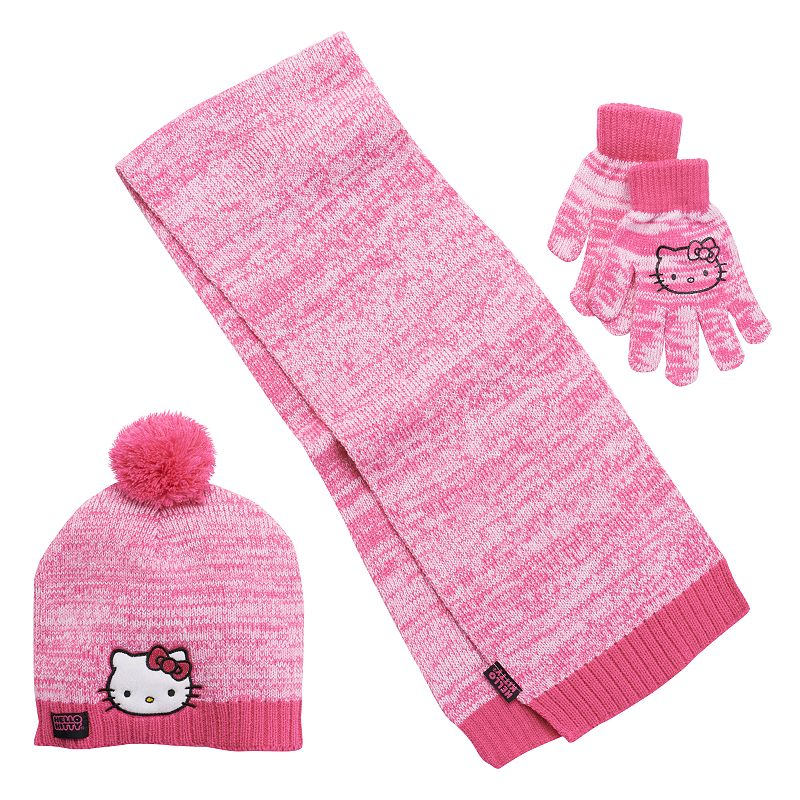 Girls 4-16 Hello Kitty Marled Pom-Pom Hat, Gloves & Scarf Set, Girl's, Pink