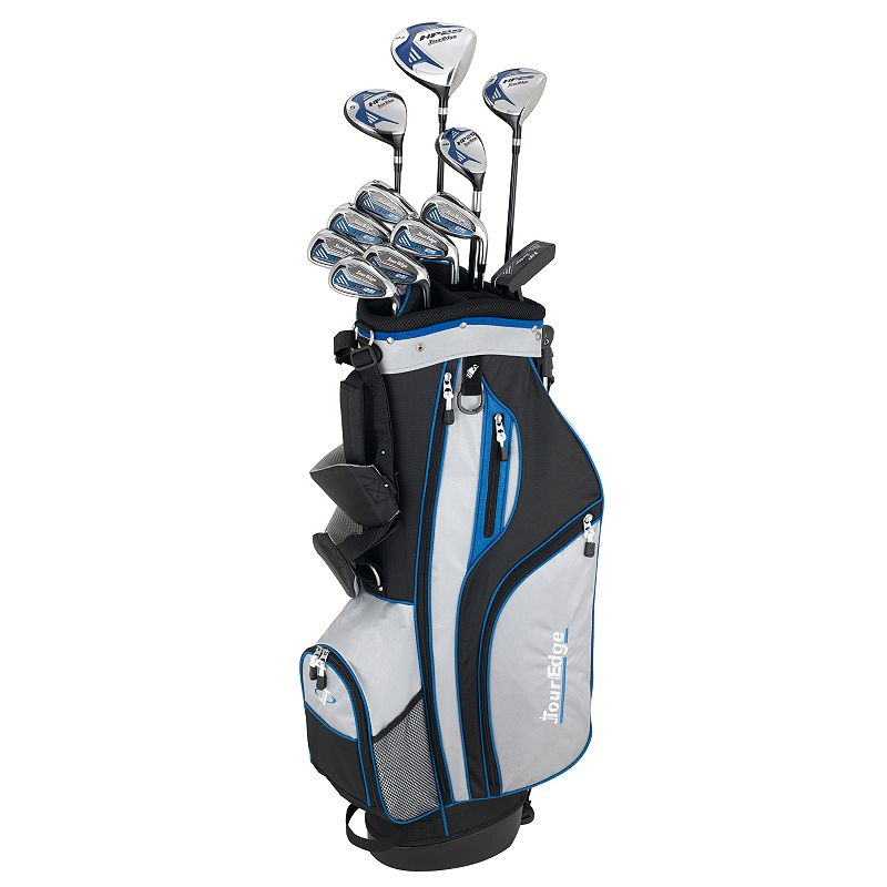 Men's Tour Edge Golf Senior HP25 Right Hand Golf Clubs & Deluxe Cart Bag Set, Silver