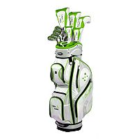 Women's Tour Edge Golf 2014 Lady Edge Right Hand White Lime Golf Clubs & Deluxe Cart Bag Set