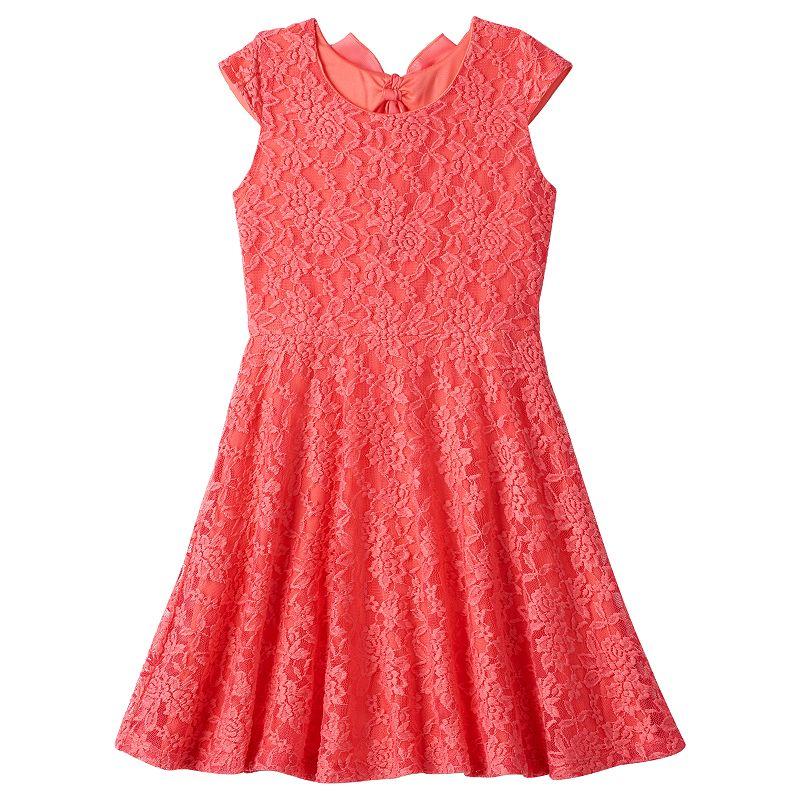Girls 7-16 & Plus Size lilt Floral Lace Bow-Back Skater Dress