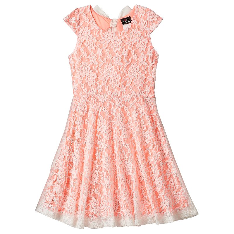 Girls 7-16 & Plus Size lilt Floral Lace Bow-Back Skater Dress