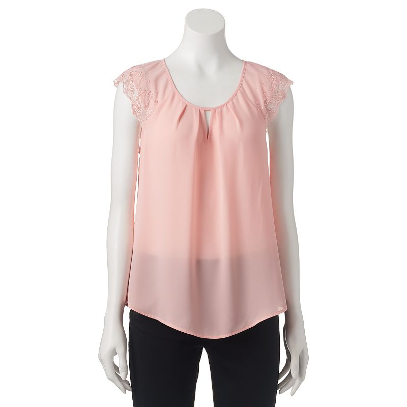 Juniors' Candie's® Pleated Lace Raglan Top