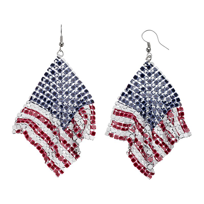 American Flag Mesh Kite Earrings