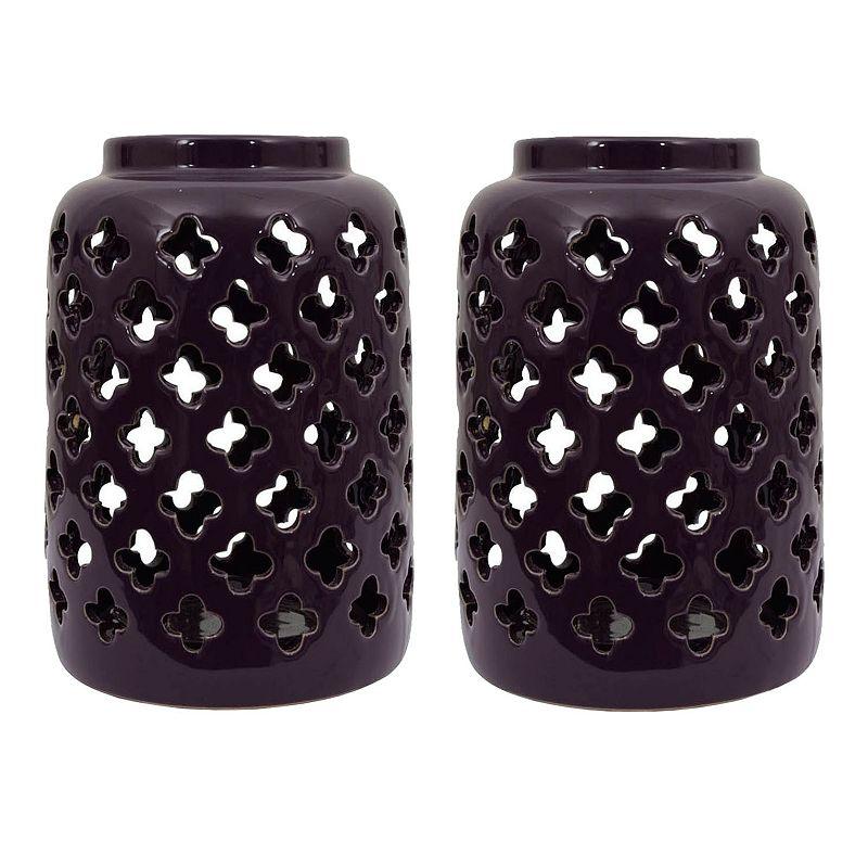Decor Therapy Peacock Ceramic Lantern 2-piece Set