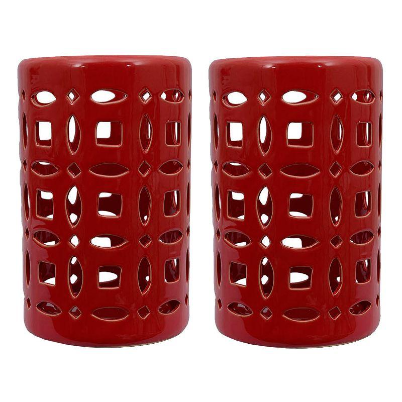 Decor Therapy Ceramic Lantern 2-piece Set