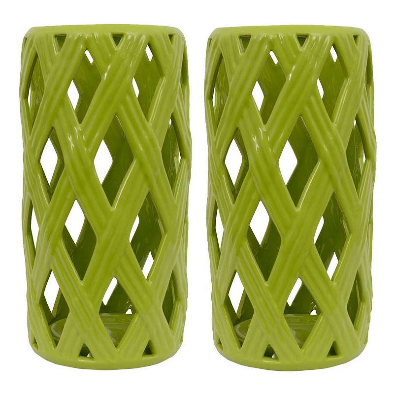Decor Therapy Ceramic Lattice Lantern 2-piece Set