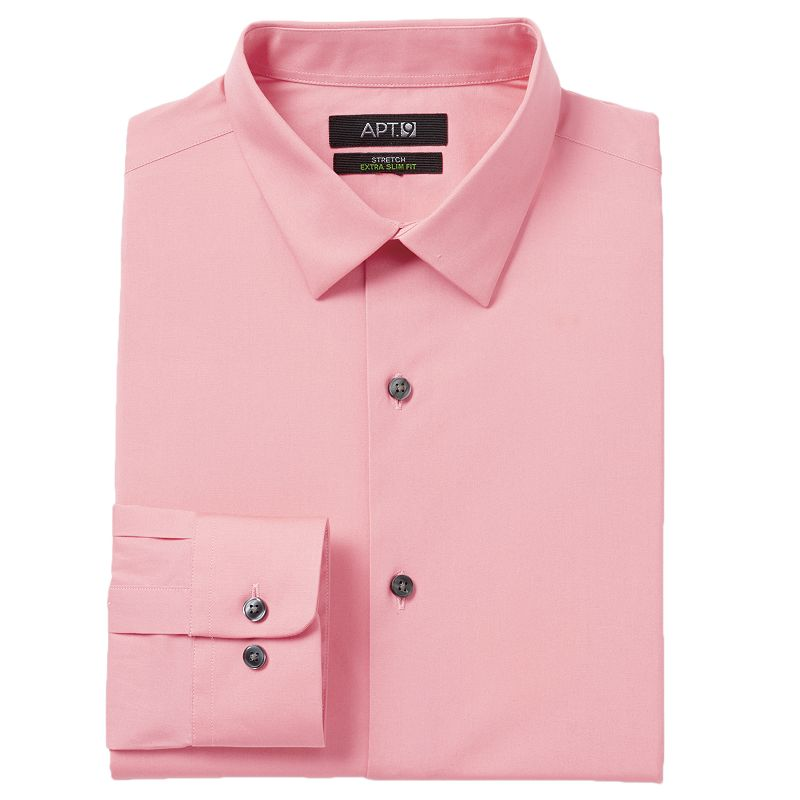 Men 39 s apt 9 extra slim solid stretch dress shirt dealtrend for Extra slim dress shirt