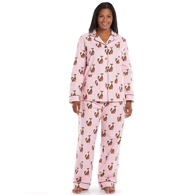 Plus Size Star & Skye Pajamas: Notch Collar Flannel Pajama Set