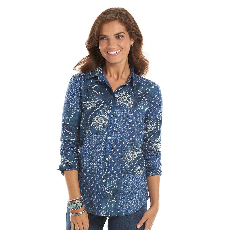 Chaps Printed Button-Down Shirt - Women's