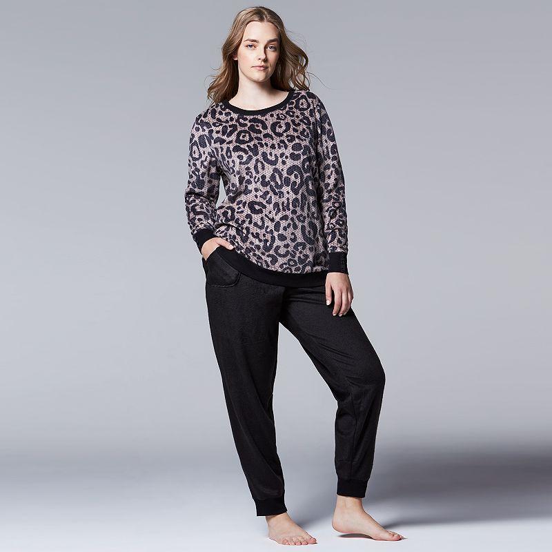 Plus Size Simply Vera Vera Wang Pajamas: Close Knit Microfleece Top & Pants Pajama Set