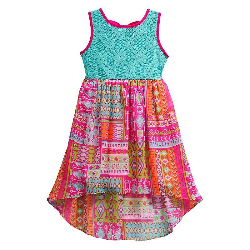 Girls 4-6x Youngland Floral Crochet Chiffon High-Low Dress