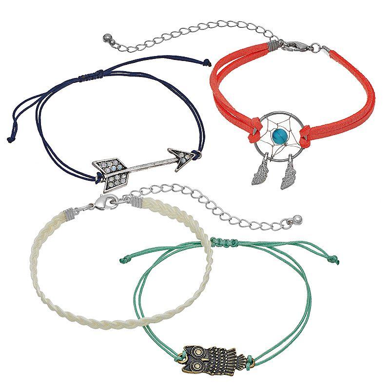 Mudd® Arrow, Dreamcatcher & Owl Slipknot Bracelet Set