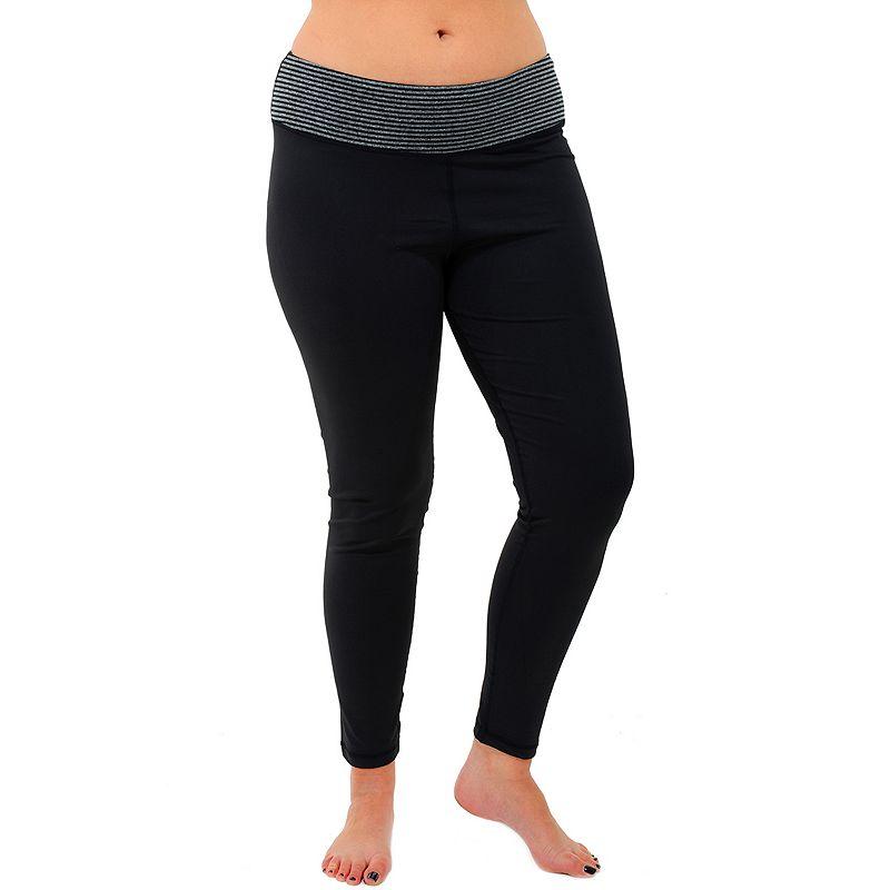 Plus Size 90 Degree by Reflex Power Flex Striped Yoga Leggings