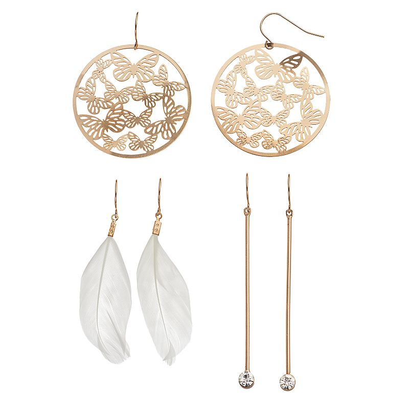 Mudd® Butterfly, Stick & Feather Drop Earring Set