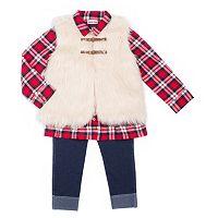 Girls 4-6x Little Lass Vest, Plaid Top & Jeggings Set