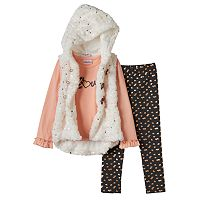 Girls 4-6x Little Lass Faux-Fur Vest, Tee & Foiled Heart Leggings Set