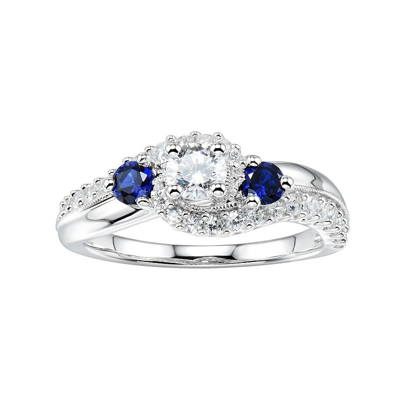 DiamonLuxe 1 1/3 Carat T.W. Simulated Diamond & Lab-Created Sapphire 3-Stone Ring
