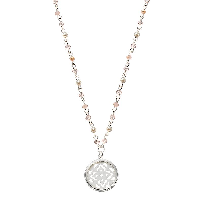 Chaps Beaded Openwork Medallion Necklace