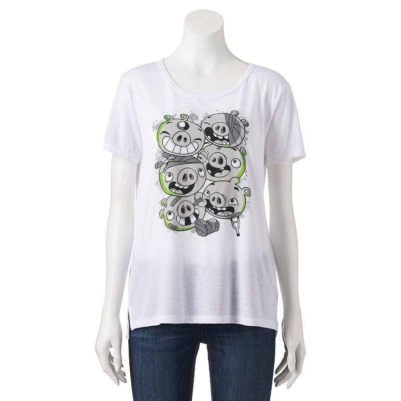 Juniors' Angry Birds Injured High-Low Graphic Tee