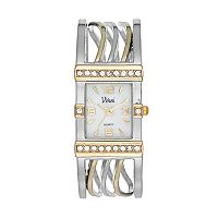 Vivani Women's Crystal Wavy Cuff Watch