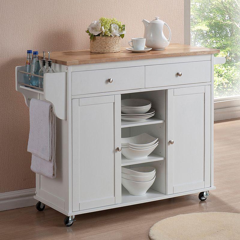Baxton Studio Meryland Modern Kitchen Island Cart, White
