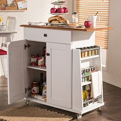 Baxton Studio Balmore Kitchen Cart Trolley Cabinet by