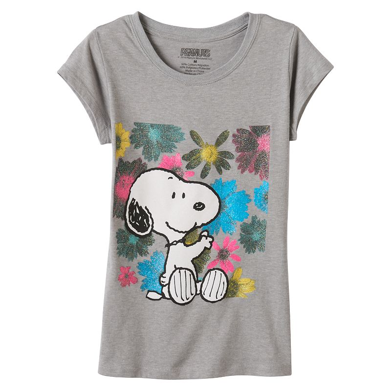 Girls 7-16 Peanuts Snoopy Floral Graphic Tee