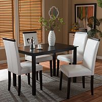 Baxton Studio Milano Dining Table & Chair 5-piece Set