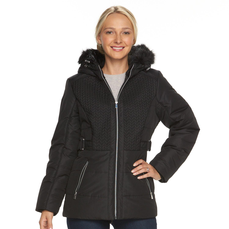 Womens d.e.t.a.i.l.s Hooded Chevron-Stitch Puffer Jacket
