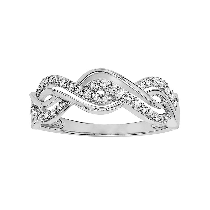 Simply Vera Vera Wang 14k White Gold 1/4 Carat T.W. Diamond Twist Ring