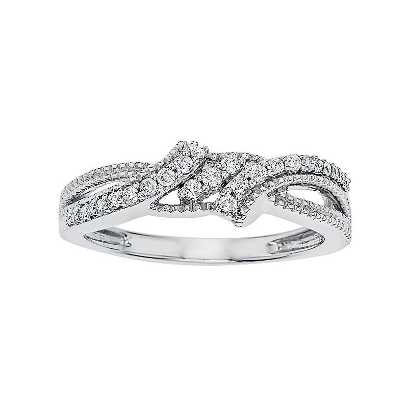 Simply Vera Vera Wang 14k White Gold 1/5 Carat T.W. Diamond Bypass Ring