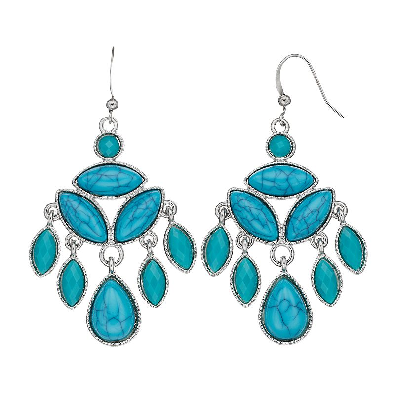 Simulated Turquoise Marquise Chandelier Earrings