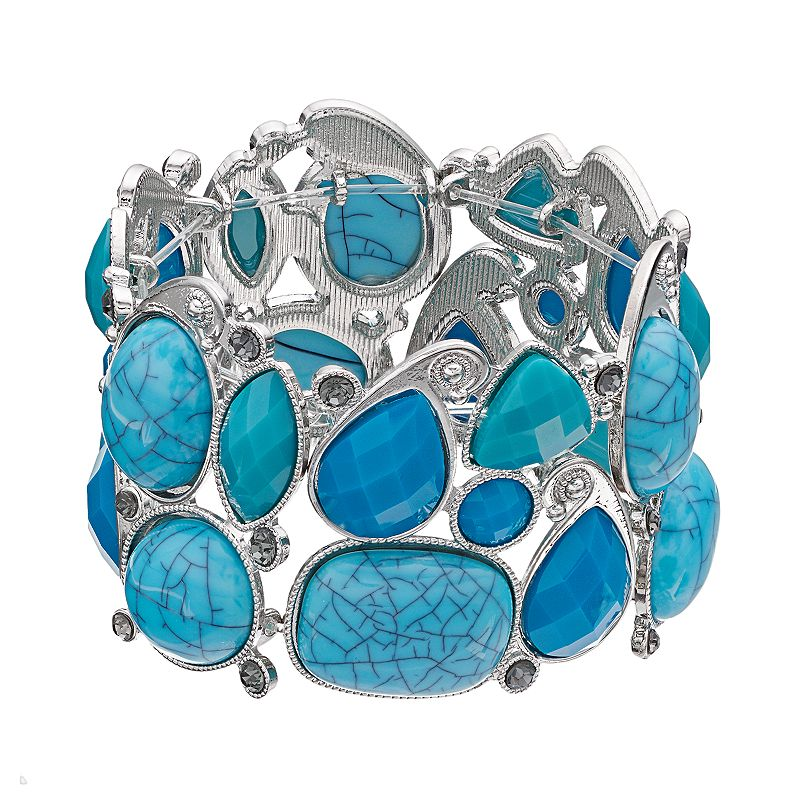 Simulated Turquoise Geometric Cluster Stretch Bracelet